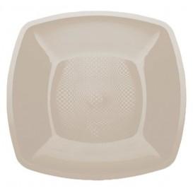 Plato de Plastico Llano Beige Square PP 230mm (25 Uds)