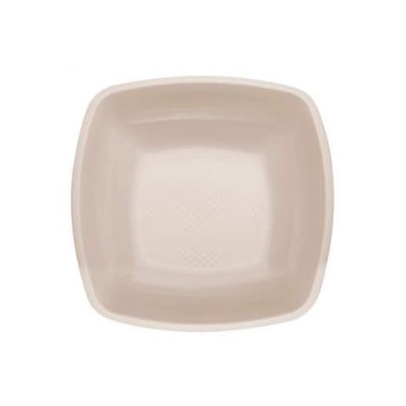 Plato de Plastico Hondo Beige Square PP 180mm (150 Uds)