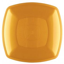 Plato de Plastico Hondo Oro Square PP 180mm (300 Uds)