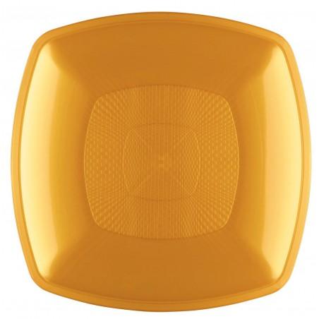 Plato de Plastico Hondo Oro Square PP 180mm (144 Uds)