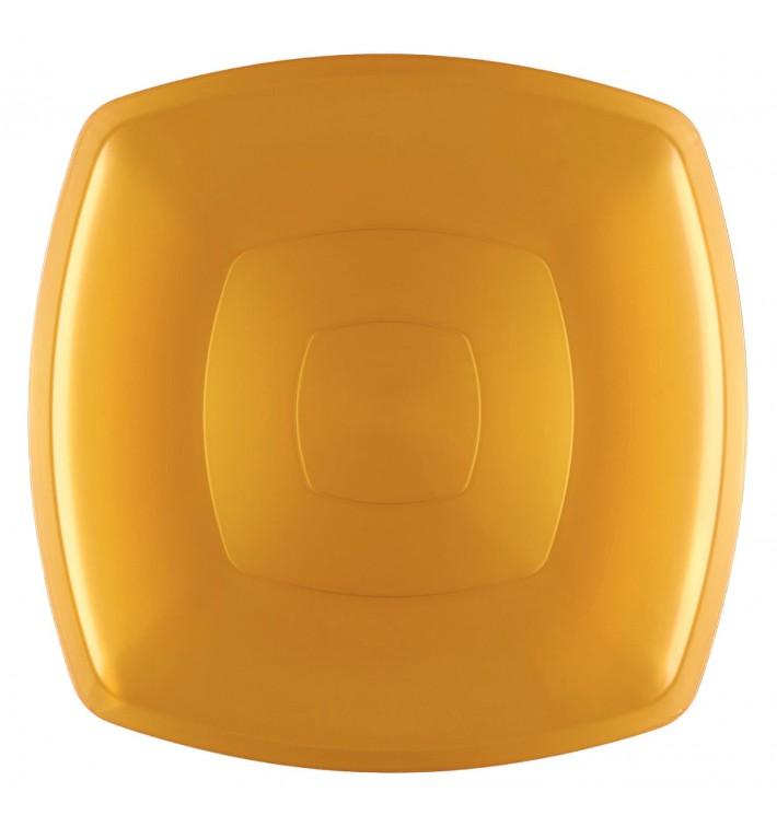 Plato de Plastico Llano Oro Square PS 300mm (144 Uds)