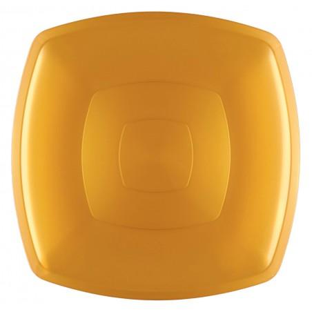 Plato de Plastico Llano Oro Square PS 300mm (72 Uds)