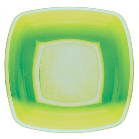 Plato de Plastico Hondo Verde Lima Square PP 180mm (150 Uds)