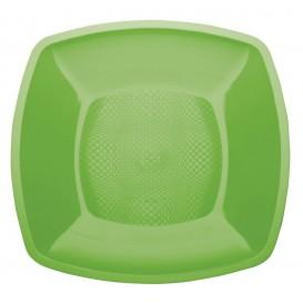 Plato de Plastico Llano Verde Lima Square PP 230mm (300 Uds)