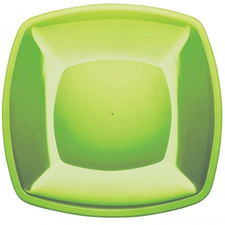 Plato de Plastico Llano Verde Lima Square PS 300mm (72 Uds)