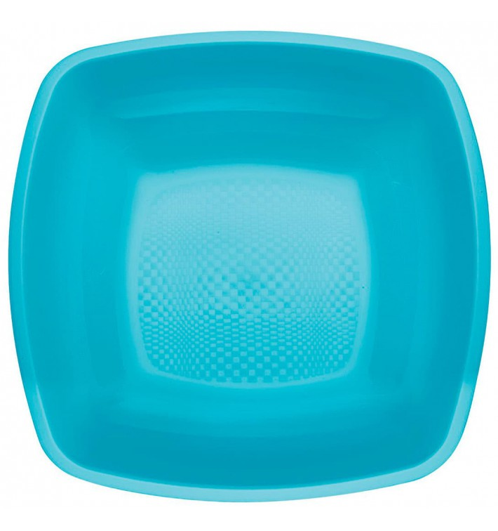 Plato de Plastico Hondo Turquesa Square PP 180mm (300 Uds)