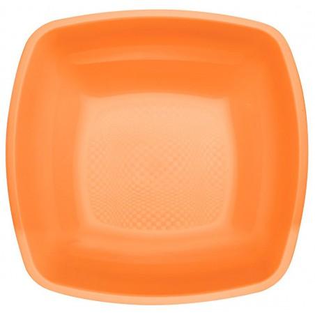 Plato de Plastico Hondo Naranja Square PP 180mm (25 Uds)