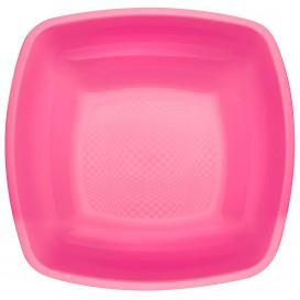 Plato de Plastico Hondo Fucsia Square PP 180mm (150 Uds)
