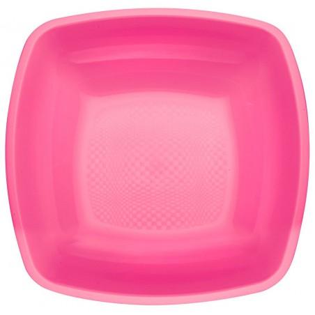 Plato de Plastico Hondo Fucsia Square PP 180mm (25 Uds)