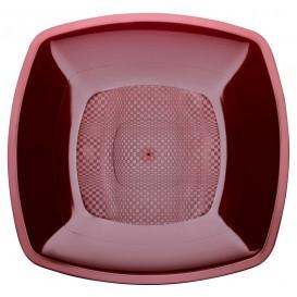 Plato de Plastico Hondo Burdeos Square PP 180mm (25 Uds)