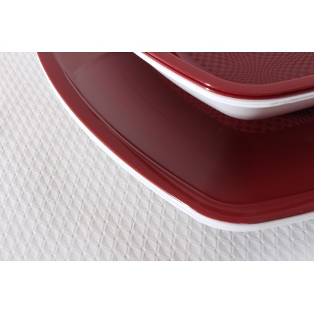 Plato de Plastico Llano Burdeos Square PS 300mm (12 Uds)