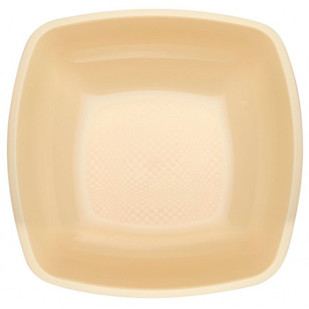 Plato de Plastico Hondo Crema Square PP 180mm (25 Uds)