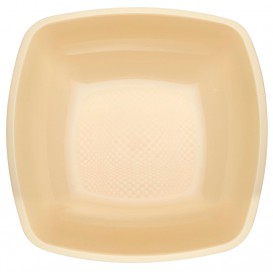 Plato de Plastico Hondo Crema Square PP 180mm (150 Uds)