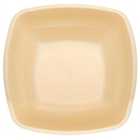Plato de Plastico Hondo Crema Square PP 180mm (300 Uds)