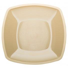 Plato de Plastico Llano Crema Square PP 230mm (150 Uds)