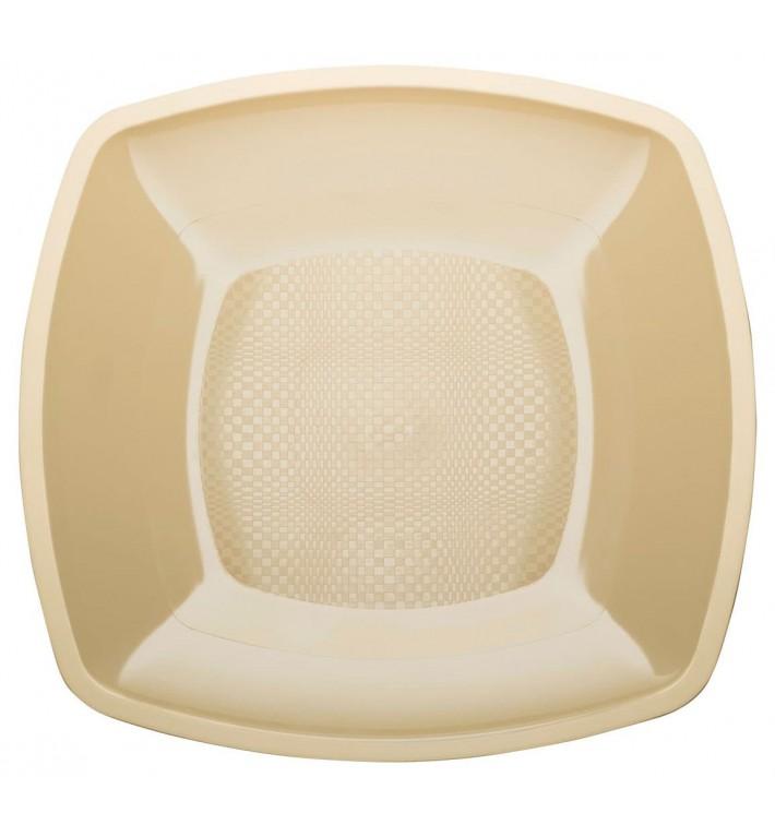 Plato de Plastico Llano Crema Square PP 230mm (300 Uds)