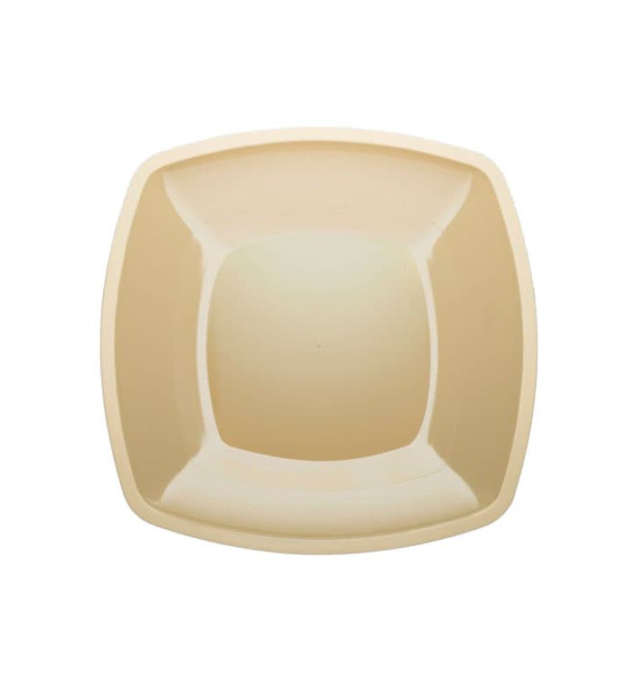 Plato de Plastico Llano Crema Square PS 300mm (12 Uds)