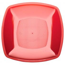 Plato de Plastico Llano Rojo Transp. Square PS 180mm (25 Uds)