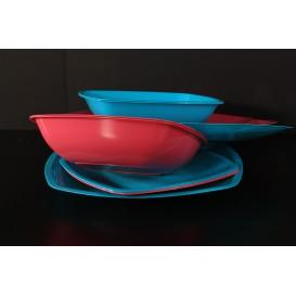 Plato de Plastico Llano Rojo Transp. Square PS 180mm (150 Uds)