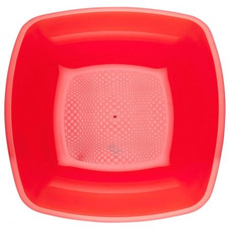 Plato de Plastico Hondo Rojo Transp. Square PS 180mm (25 Uds)