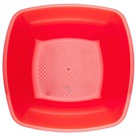Plato de Plastico Hondo Rojo Transp. Square PS 180mm (150 Uds)