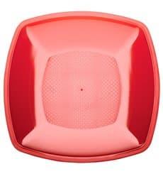Plato de Plastico Llano Rojo Transp. Square PS 230mm (300 Uds)