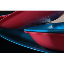 Plato de Plastico Llano Rojo Transp. Square PS 230mm (150 Uds)