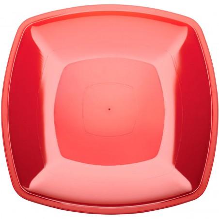 Plato de Plastico Llano Rojo Transp. Square PS 300mm (144 Uds)