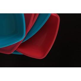 Plato de Plastico Llano Rojo Transp. Square PS 300mm (72 Uds)