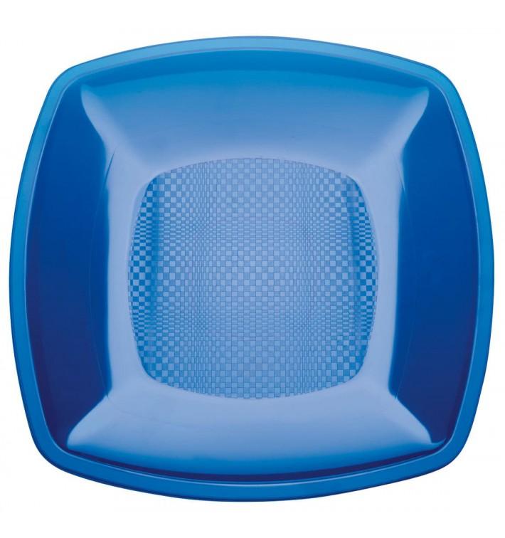 Plato de Plastico Llano Azul Transp. Square PS 180mm (300 Uds)