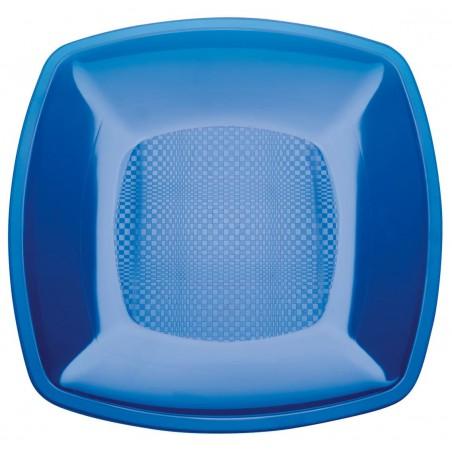 Plato de Plastico Llano Azul Transp. Square PS 180mm (150 Uds)