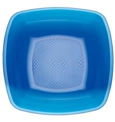 Plato de Plastico Hondo Azul Transp. Square PS 180mm (25 Uds)