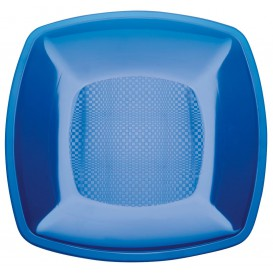 Plato de Plastico Llano Azul Transp. Square PS 230mm (25 Uds)