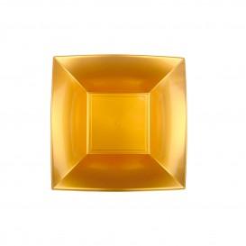 Plato de Plastico Hondo Cuadrado Oro 180mm (150 Uds)