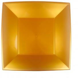 Plato de Plastico Llano Cuadrado Oro 290mm (12 Uds)