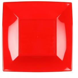 Plato de Plastico Llano Rojo Nice PP 290mm (12 Uds)