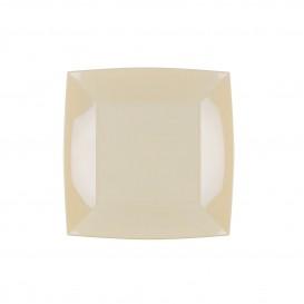 Plato de Plastico Llano Cuadrado Crema 180mm (25 Uds)