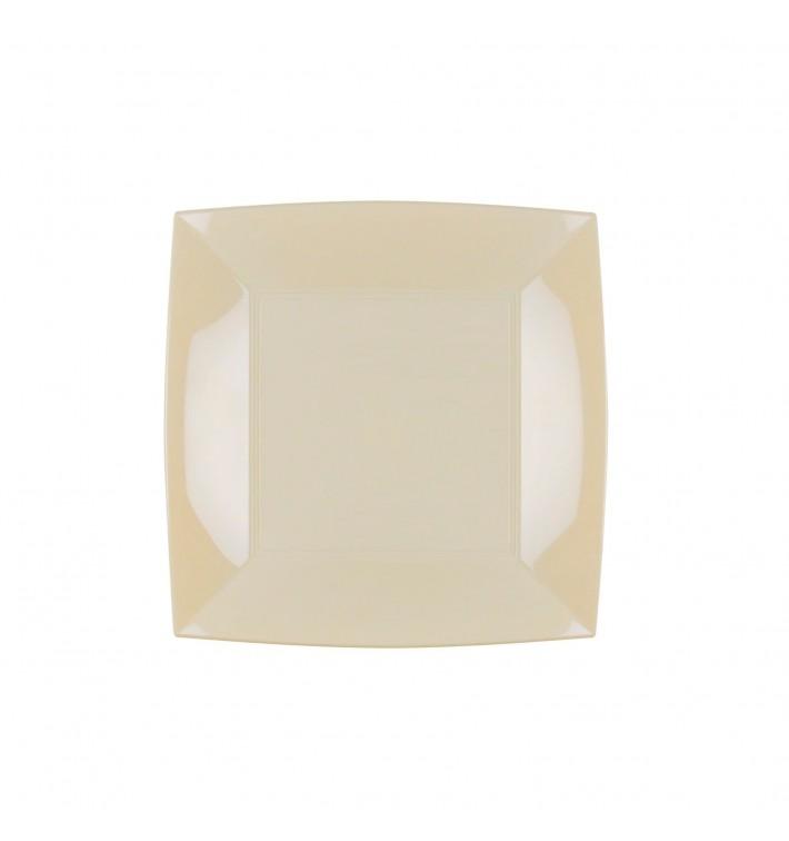 Plato de Plastico Llano Crema Nice PP 180mm (300 Uds)