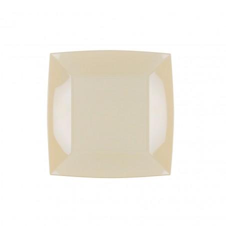 Plato de Plastico Llano Crema Nice PP 180mm (150 Uds)