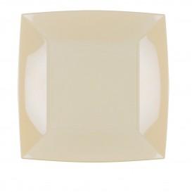 Plato de Plastico Llano Cuadrado Crema 230mm (25 Uds)