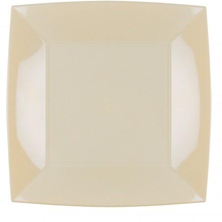 Plato de Plastico Llano Crema Nice PP 290mm (12 Uds)