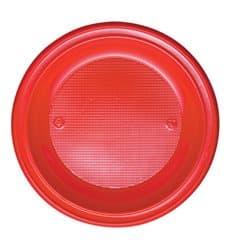 Plato de Plastico PS Llano Rojo Ø280mm (10 Uds)