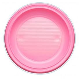 Plato de Plastico PS Hondo Rosa Ø220mm (30 Uds)