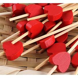 """Pinchos de Madera """"Corazón"""" Rojo120 mm (5000 Uds)"""