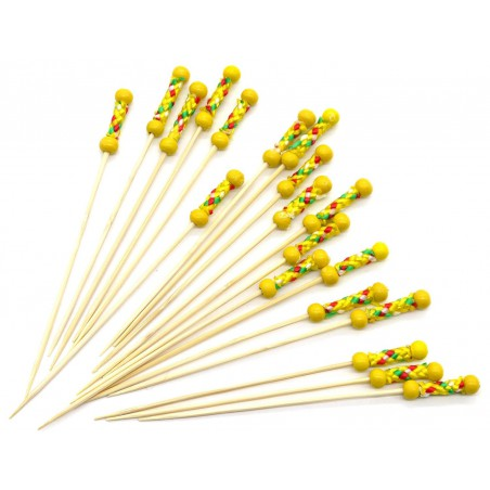 Pinchos de Bambú Decorados en Amarillo 120 mm (200 Uds)