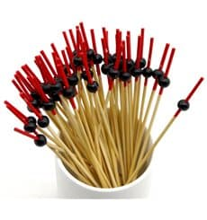 """Pinchos """"Bola"""" de Bambu en Rojo y Negro 120mm (5000 Uds)"""