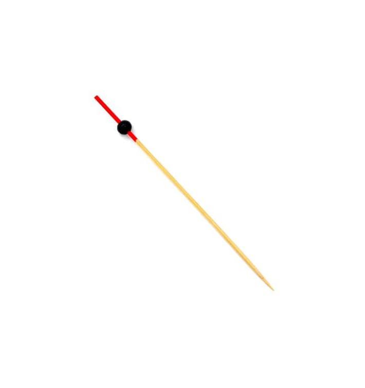 """Pinchos de """"Bola"""" de Bambu en Rojo y Negro 120mm (5000 Uds)"""