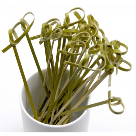 "Pinchos de Bambu ""Lazo"" Verde Natural 90mm (200 Uds)"