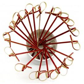 "Pinchos de Bambu ""Lazo"" Rojo 150mm (200 Uds)"