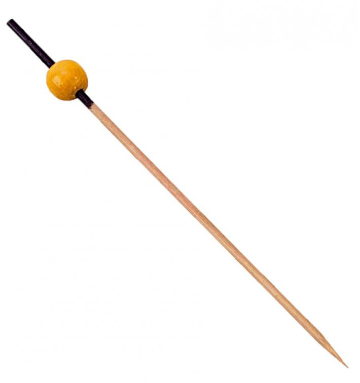Pinchos de Bambu decorado Negro y Amarillo 120mm (200 Uds)